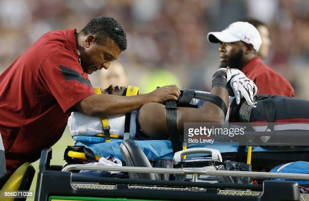 Terry Googer of the South Carolina Gamecocks is carted off the field after sustaining an unknown injury against the Texas AM Aggies in the first half...