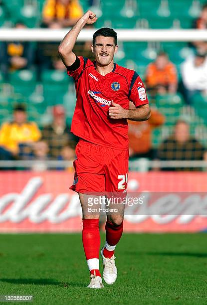 Terry Gornell of Shrewsbury celebrates scoring his team's first goal of the game during the FA Cup sponsored by Budweiser First Round match between...