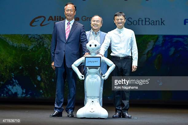 Terry Gou CEO of Foxconn Technology group and Masayoshi Sonchairman and chief and executive officer of SoftBank Corp and Jack Ma CEO of the Alibaba...