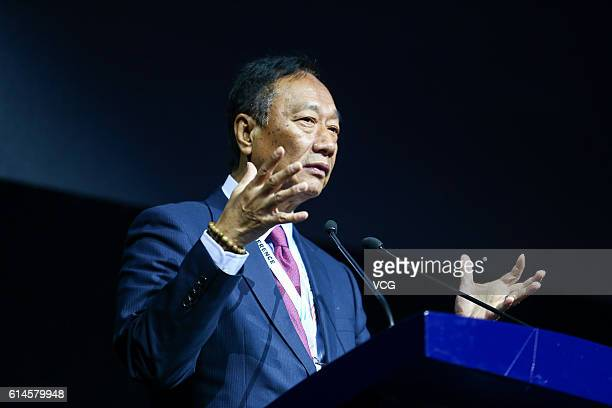 Terry Gou, founder and chairman of Foxconn, makes speech during opening ceremony of the Computing Conference 2016 at Hangzhou Yunqi Cloud Town...