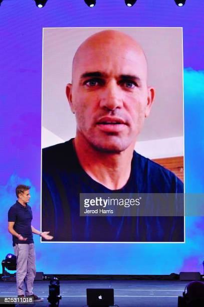 Terry Hardy introduces Kelly Slater via Skype at WORLDZ Cultural Marketing Summit at Hollywood and Highland on August 1 2017 in Los Angeles California