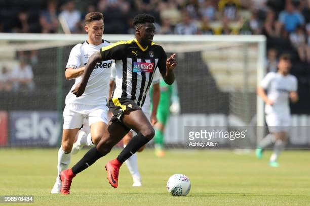 Terry Hawkridge of Notts County runs with the ball during a PreSeason match between Notts County and Derby County at Meadow Lane Stadium on July 14...