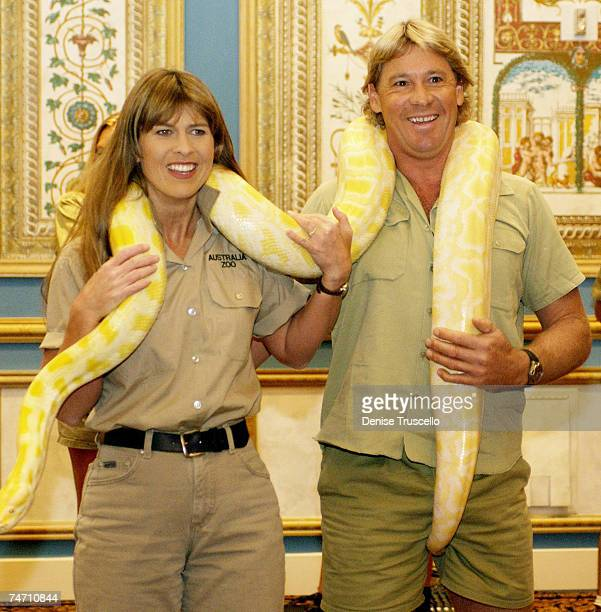 "Terry Irwin and Steve Irwin talk about their film ""Crocodile Hunter: Collision Course"" at 2002 ShoWest in Las Vegas, Nevada. During 2002 ShoWest..."