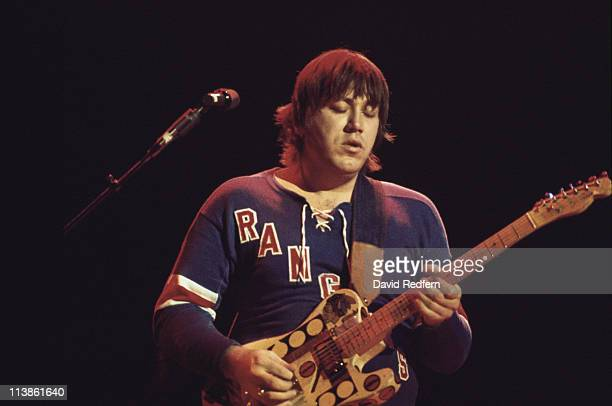 Terry Kath guitarist with US rock band Chicago playing the guitar during a live concert performance at the Hammersmith Odeon in London England Great...