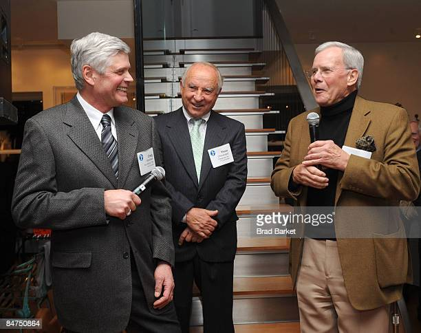 Terry Kellog Yvon Chouinard and Tom Brokaw attends 1% for The Planet Fete Major Environmental Accomplishments cocktail party on February 11 2009 in...
