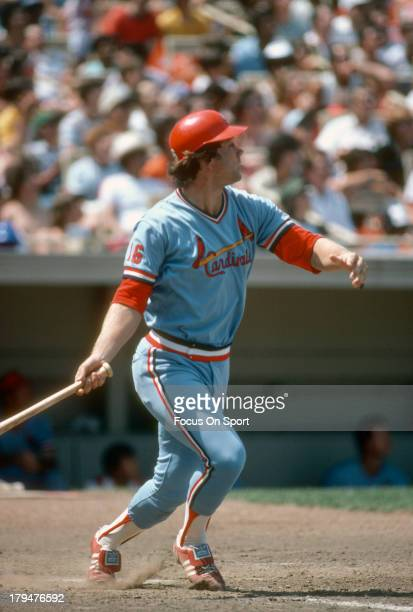Terry Kennedy of the St Louis Cardinals bats against the New York Mets during an Major League Baseball game circa 1980 at Shea Stadium in the Queens...