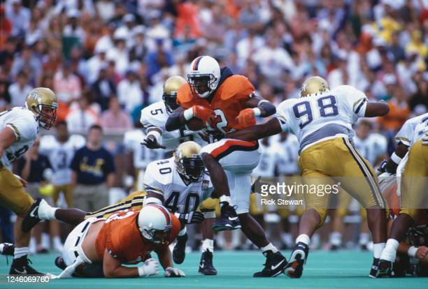 Terry Kirby, Running Back for the University of Virginia Cavaliers runs the football during the NCAA Atlantic Coast Conference college football game...