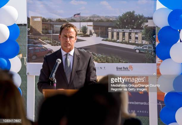 Terry L Walker superintendent of the Irvine Unified School District speaks to a crowd attending the ground breaking ceremony for Beacon Park School a...
