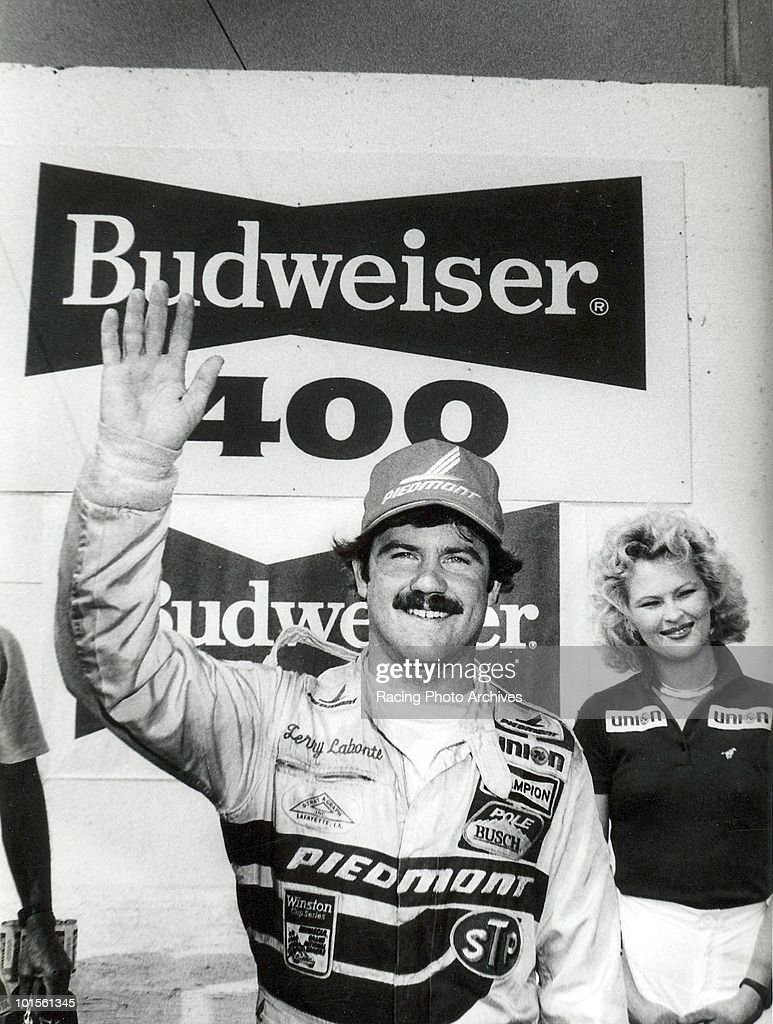 Terry Labonte waves to his fans from Vicroty Lane. Labonte would take home $31,955 for winning the Budweiser 400.