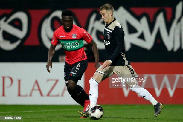 Terry Lartey Sanniez of NEC Nijmegen, Vaclav Cerny of Ajax U23 during the Dutch Keuken Kampioen Divisie match between NEC Nijmegen v Ajax U23 at the...