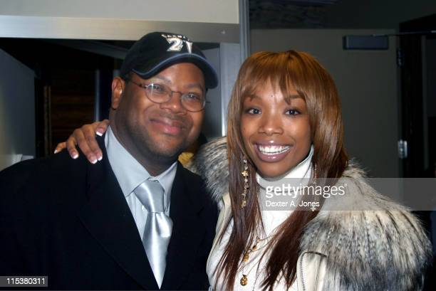 Terry Lewis and Brandy during Slam Dunk Contest Brings the Stars Out February 20 2005 at Pepsi Center in Denver Colorado United States