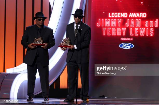 Terry Lewis and Jimmy Jam accept the Legend Award during the 2019 Soul Train Awards at the Orleans Arena on November 17, 2019 in Las Vegas, Nevada.