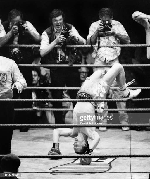 Terry Marsh summersaults after defending his IBF Light Welterweight World Title against Japan's Akio Kameda at the World Championship Boxing match at...
