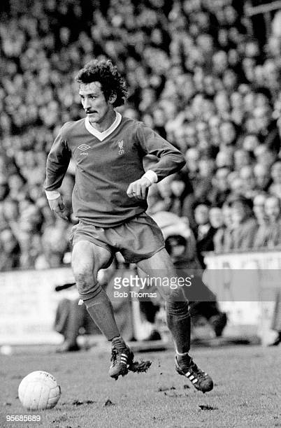 Terry McDermott in action for Liverpool during their First Division league match against Queens Park Rangers at Loftus Road in London, 7th May 1977....