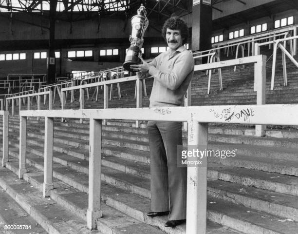 Terry McDermott Liverpool midfielder holding Player of the Year Trophy at The Kop Anfield Published 30th April 1980