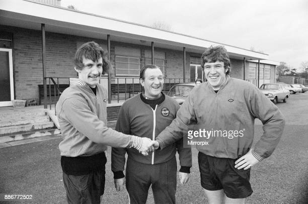 Terry McDermott, new Liverpool signing, reports for training at Melwood, 14th November 1974. Pictured with team captain Emlyn Hughes and manager Bob...
