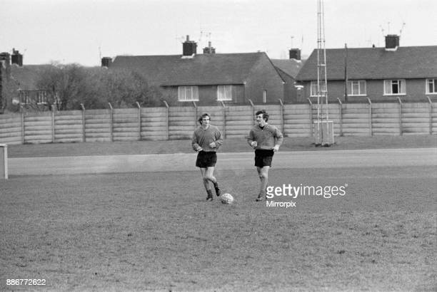 Terry McDermott, new Liverpool signing, reports for training at Melwood, 14th November 1974. Also pictured, Phil Thompson.