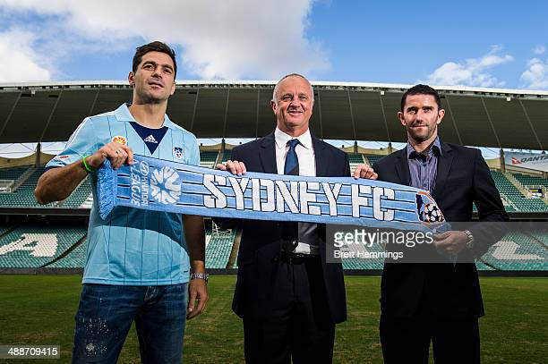 Terry Mcflynn Head Coach Graham Arnold and Sasa Ognenovski of Sydney FC pose for a photo during the Sydney FC ALeague coach announcement at Allianz...