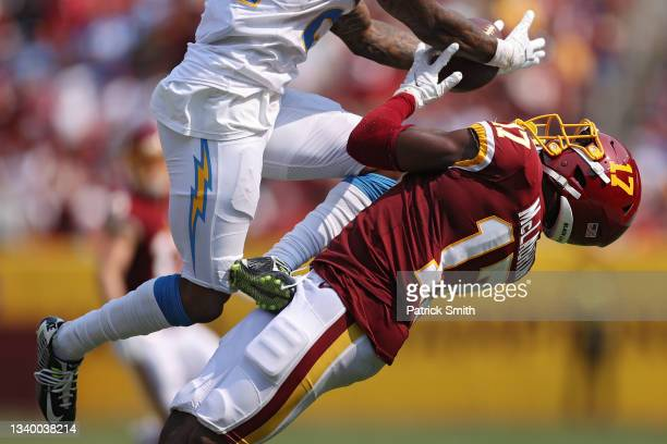 Terry McLaurin of the Washington Football Team makes a catch against the Los Angeles Chargers during the fourth quarter at FedExField on September...