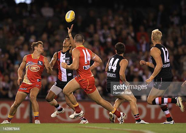 Terry Milera of the Saints collects the ball to score the opening goal during the round two AFL match between the St Kilda Saints and the Gold Coast...