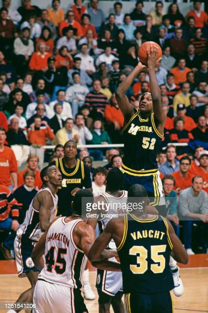 Terry Mills, Center for the University of Michigan Wolverines shoots for the basket during the NCAA Big-10 Conference college basketball game against...