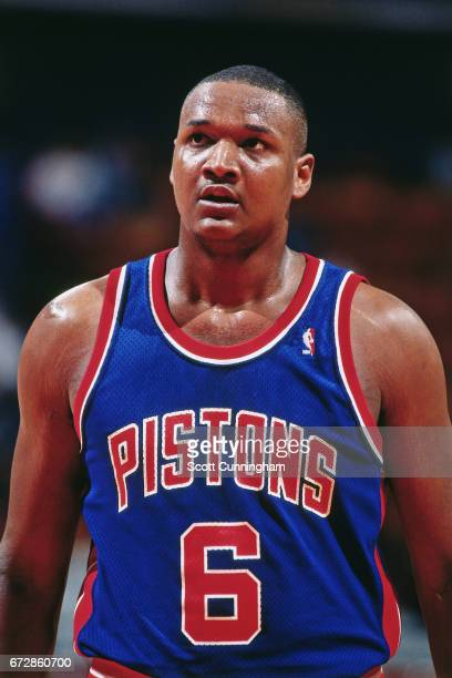 Terry Mills of the Detroit Pistons looks on against the Atlanta Hawks during a game played circa 1990 at the Omni in Atlanta Georgia NOTE TO USER...