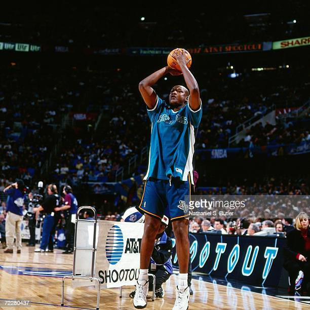 Terry Mills of the Detroit Pistons shoots a jump shot during the 1997 ATT Three Point Shootout on February 8 1997 at the Gund Arena in Cleveland Ohio...