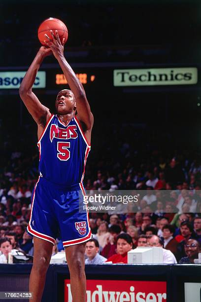 Terry Mills of the New Jersey Nets shoots the ball against the Sacramento Kings on January 28 1992 at Arco Arena in Sacramento California NOTE TO...