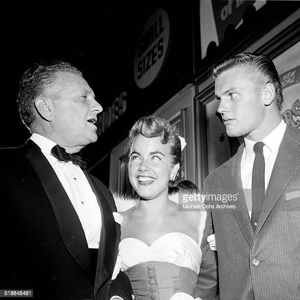 Terry Moore and Tab Hunter attend a movie premiere party for Red Garters at Mocambo in Los AngelesCA
