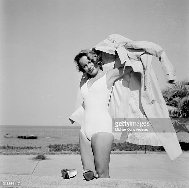 Terry Moore poses at the beach in Los AngelesCA