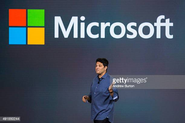 Terry Myerson executive vice president of operating systems at Microsoft speaks at a media event for new Microsoft products on October 6 2015 in New...
