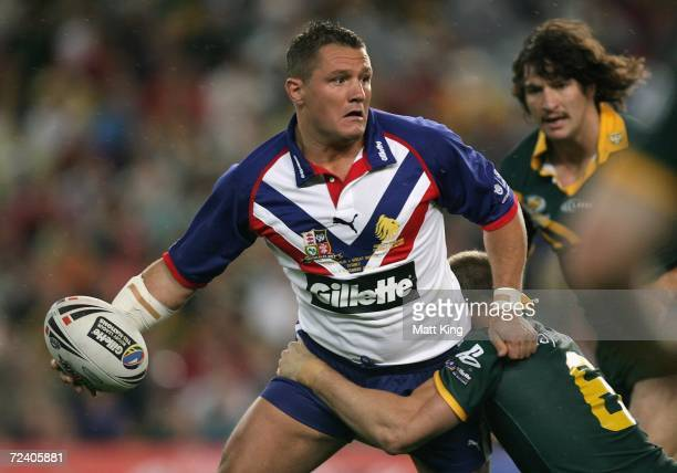 Terry Newton of the Lions looks to pass during the TriNations Series match between the Australian Kangaroos and the Great Britain Lions at Aussie...