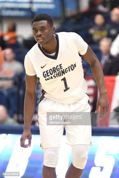 Terry Nolan Jr #1 of the George Washington Colonials looks on during a college basketball game against the Princeton Tigers at the Smith Center on...