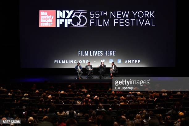 Terry Notary Dominic West Ruben Ostlund and Dennis Lim take part in a QA following a screening of 'The Square' during the 55th New York Film Festival...