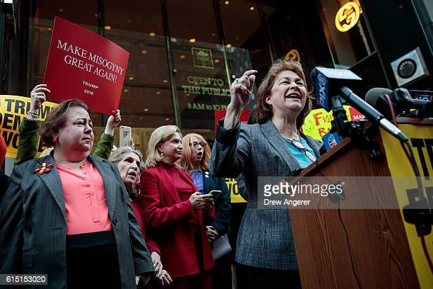 Terry O'Neill president of the National Organization for Women speaks during a protest against Republican presidential candidate Donald Trump for his...