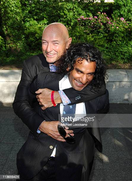 Terry O'Quinn and Naveen Andrews during 2005/2006 ABC UpFront Arrivals at Lincoln Center in New York City New York United States