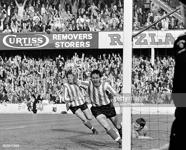 Terry Paine celebrates after scoring for Southampton in their First Division match against Liverpool at The Dell in Southampton, 26th September 1970....