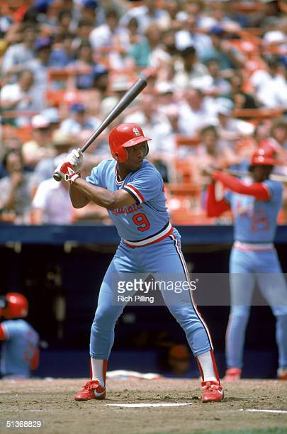 Terry Pendleton of the St Louis Cardinals stands ready at the plate during a game on July 1984