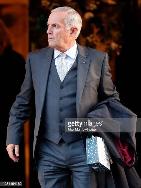 Terry Pendry leaves the Goring Hotel after attending a Christmas lunch hosted by The Queen for her close members of staff on December 11 2018 in...
