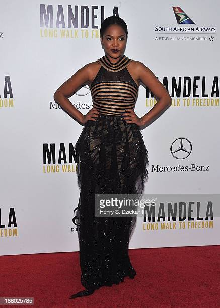 """Terry Pheto attends the New York premiere of """"Mandela: Long Walk to Freedom"""" hosted by The Weinstein Company, Yucaipa Films & Videovision..."""