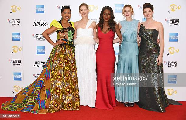 Terry Pheto Rosamund Pike Amma Asante Laura Carmichael and Jessica Oyelowo attend the 'A United Kingdom' Opening Night Gala screening during the 60th...