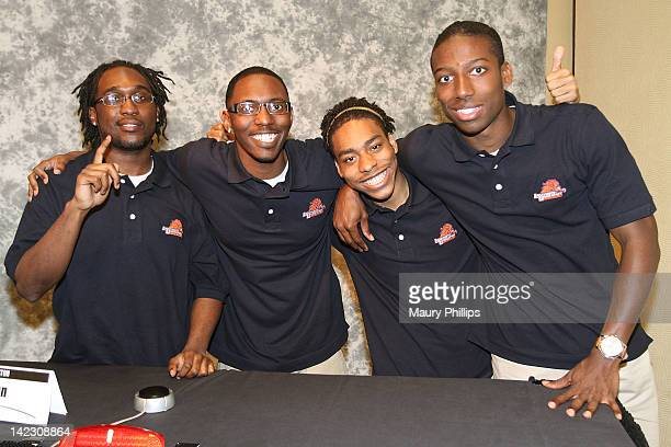 Terry Phillips Ryan Johnson Aalim Lankford and RL Wilson of Langston University attend the Honda Campus AllStar Challenge Round Robin Games at...