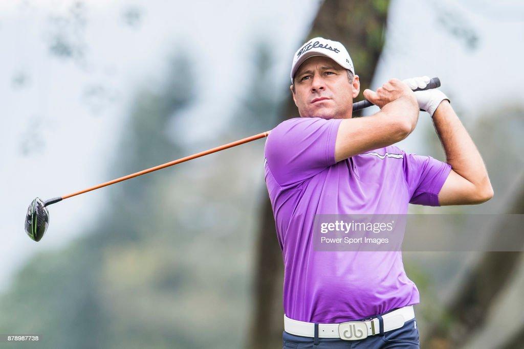 Terry Pilkadaris of Australia hits a shot during round three of the UBS Hong Kong Open at The Hong Kong Golf Club on November 25, 2017 in Hong Kong, Hong Kong.