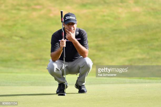 Terry Pilkadaris of Australia lines up a putt during day three of the ISPS Handa New Zealand Golf Open at Millbrook Golf Resort on March 3 2018 in...