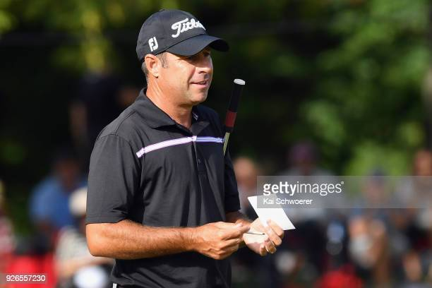 Terry Pilkadaris of Australia looks on during day three of the ISPS Handa New Zealand Golf Open at Millbrook Golf Resort on March 3 2018 in...