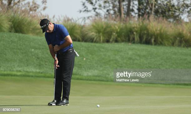 Terry Pilkadaris of Australia makes a putt on the 15th green during day one of the Hero Indian Open at Dlf Golf and Country Club on March 8 2018 in...