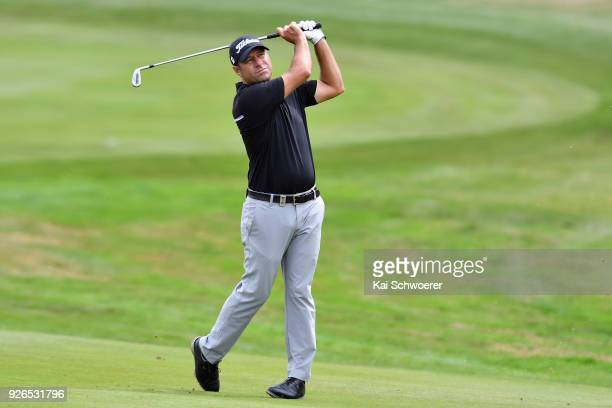 Terry Pilkadaris of Australia plays a shot during day three of the ISPS Handa New Zealand Golf Open at Millbrook Golf Resort on March 3 2018 in...