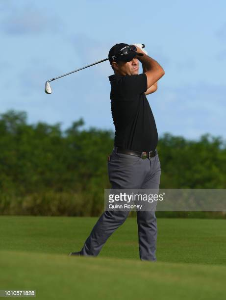 Terry Pilkadaris of Australia plays an approach shot during Day Three at the Fiji International Golf Tournament on August 4 2018 in Natadola Fiji