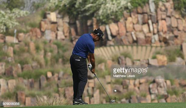 Terry Pilkadaris of Australia plays his second shot on the 17th hole during day one of the Hero Indian Open at Dlf Golf and Country Club on March 8...