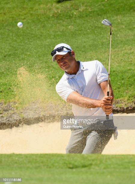 Terry Pilkadaris of Australia plays out of the bunker during Day Four at the Fiji International Golf Tournament on August 5 2018 in Natadola Fiji